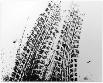 Plakát Souvislosti s koleje grunge černé pneumatiky, vektorové