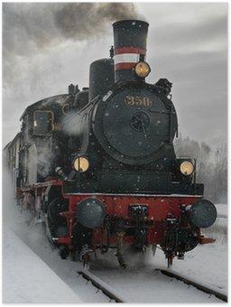Plakát Staré parní lokomotiva ve sněhu