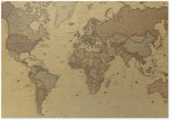 Plakát Starověká mapa světa