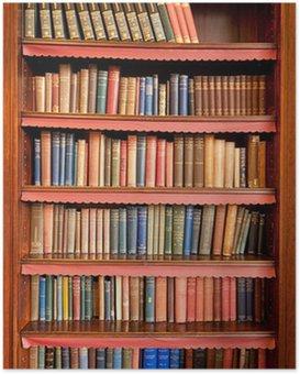 Plakát Starý regál s řadami knih v bývalé knihovny