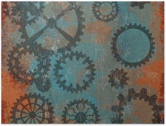 Plakát Steampunk grunge pozadí s hodinami wheels__