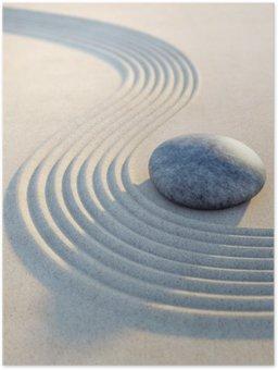 Plakát Stein und Wellen im Sand Hochformat