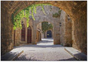 Plakát Středověká klenuté ulice ve starém městě Rhodos, Řecko