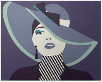 Plakát Stylizované sexy žena s chatou