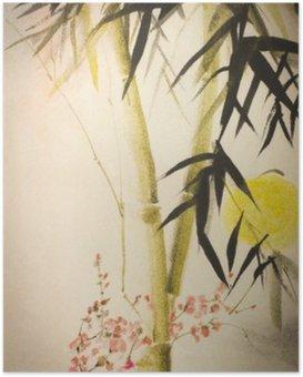 Plakát Sun bambusu a švestka větev