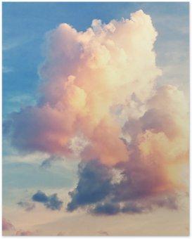 Plakát Sunny sky background in vintage retro style