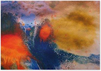 Plakát Sušené pruhy vícebarevné nátěrové barvy s trhlinami