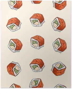 Plakat Sushi, bez szwu wzór