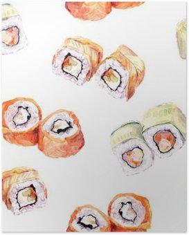 Plakat Sushi roll szwu. Akwarela