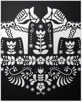Plakát Švédská Dala nebo Daleclarian kůň květinový lidový vzor na černém
