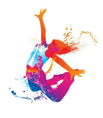 Plakát Tančící dívka s barevnými skvrnami a šplouchá na bílém