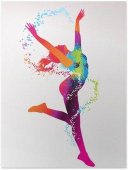 Plakát Tančící dívka s barevnými skvrnami a šplouchá na světlém bac