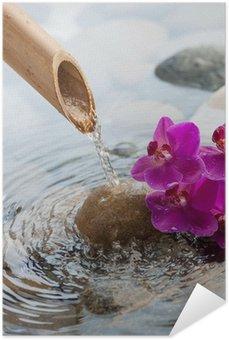 Plakát Tekoucí vodou na kamenech vedle květiny