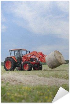 Plakát Traktory Hauling Round Bale