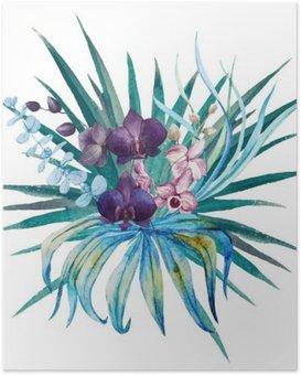 Plakát Tropical květinová kompozice