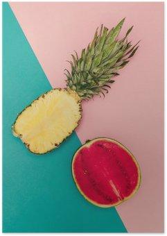 Plakát Tropical Mix. Ananas a Meloun. minimální Style
