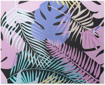 Plakát Tropické exotické květiny a rostliny se zelenými listy palmy.