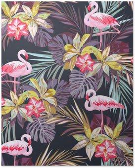 Plakát Tropické letní bezešvé vzor s plameňáka ptáků a exotických rostlin