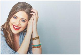 Plakát Tvář portrét usmívající se žena. Zuby usměvavá dívka. jeden model