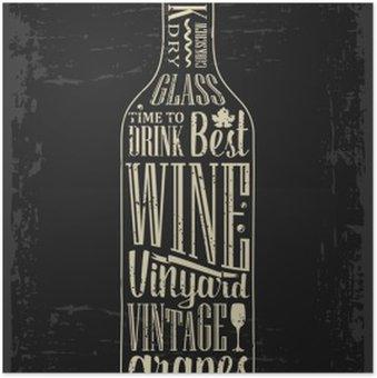 Plakát Typografie plakát písma textu v láhvi silueta víno. Vintage vektorové ilustrace rytina. Reklamní design pro hospody na tmavém pozadí
