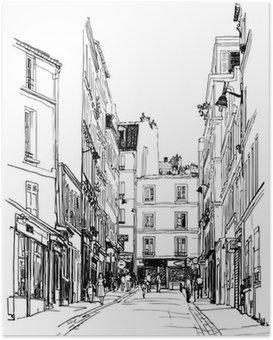 Plakát Ulice poblíž Montmartru v Paříži