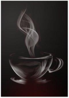 Plakát Umělecké Ilustrace Smoke šálek kávy na černé