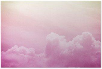 Plakát Umělecký měkké mraky a obloha s grunge papíru textury