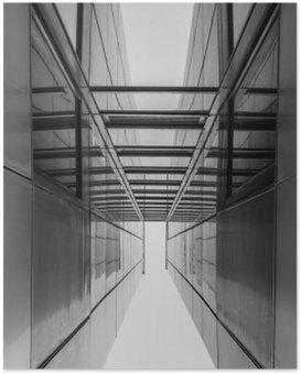 Plakát Urban Geometrie, vzhlédl ke skleněné budově. Moderní architektura, skla a oceli. Abstraktní architektonické řešení. Inspirativní, umělecký obraz. Průmyslový design. .Modern Budovy. Černý a bílý.