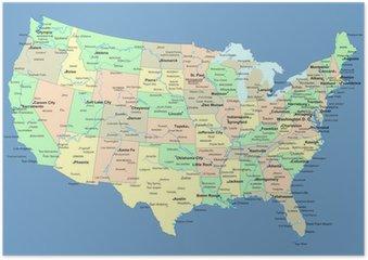 Plakát USA mapu s názvy států a měst