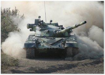 Plakát Války. Tank na cestách
