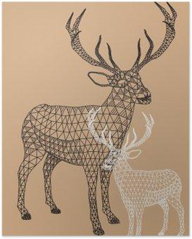 Plakát Vánoční sob s geometrickým vzorem, vektor