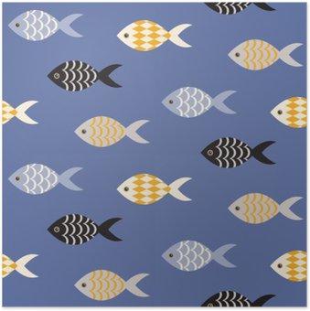 Plakát Vector černá a bílá ryba bezešvé vzor. Hejno ryb v řadách na modrém oceánu vzor. Letní námořní téma.