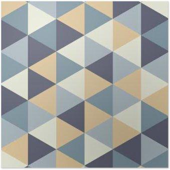 Plakát Vector moderní bezešvé barevný geometrie trojúhelník vzor, barva abstraktní geometrické pozadí, polštář vícebarevný tisk, retro textura, hipster módní design