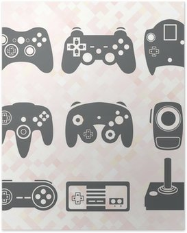 Plakát Vector Set: Video Game Controller Siluety