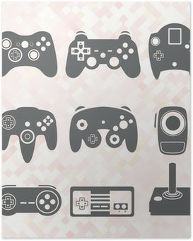 Plakát Vector Set: Video Game Controller Siluety