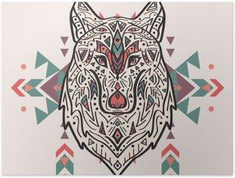 Plakát Vektorové barevné ilustrace kmenové stylu vlka s etnickými ornamenty. Indiána motivy. Totem tetování. Design Boho.
