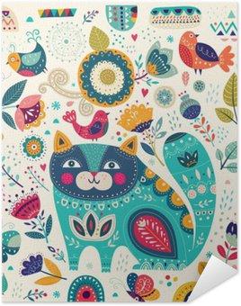 Plakát Vektorové barevné ilustrace s krásná kočka, motýli, ptáci a květiny