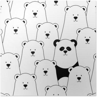 Plakát Vektorové bezešvé vzor s bílými lední medvědi a Panda