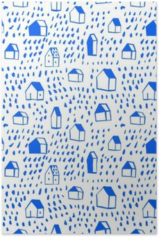 Plakát Vektorové bezproblémové vzorek s domy.