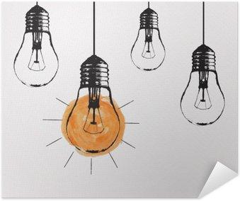 Plakát Vektorové grunge ilustrace s visící žárovky a místo pro text. Moderní styl skica bederní. Jedinečný nápad a kreativní myšlení koncept.