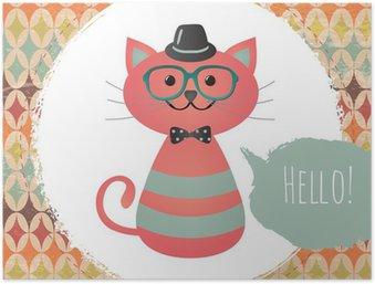 Plakát Vektorové Hipster Cat přání design ilustrace