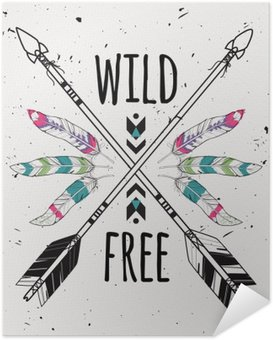Plakát Vektorové ilustrace grunge se zkříženými etnickými šípy, peří a kmenových ornament. Boho a hippie styl. Indiána motivy. Divoká a zdarma plakát.