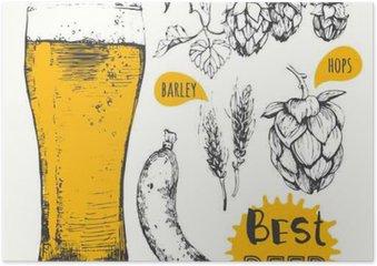 Plakát Vektorové ilustrace piva a klobás. Nabídka Pub.