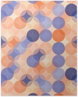 Plakát Vektorové moderní bezešvé barevné geometrie vzor kruhy, barva modrá oranžová abstraktní geometrické pozadí, tapety tisk, retro textura, bederní módní návrhářství, __