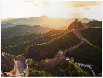 Plakát Velká čínská zeď pod slunci při západu slunce