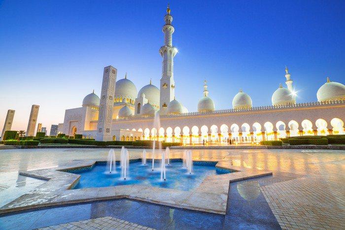 Plakát Velká mešita v Abu Dhabi v noci, Spojené arabské emiráty - Střední Východ
