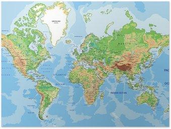 Plakát Velmi podrobné satelitní fyzický svět s označením.