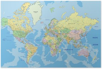 Plakát Velmi podrobné satelitní politický svět se označování.