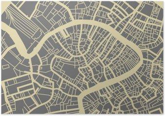 Plakát Venice vektorové mapy. Černobílý vintage design zázemí pro cestovní karty, reklama, dárek nebo plakátu.