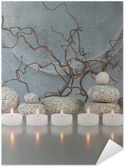 Plakát Větve, kameny, svíčky